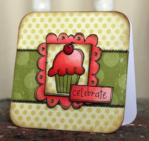 JennB Framed Doodles and Sentiments Cupcake Card